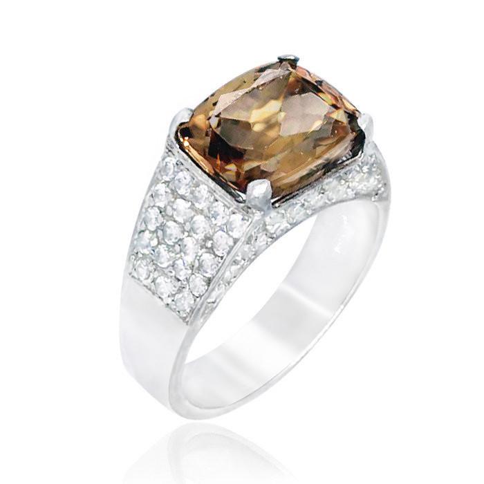 Кольцо серебряное с империал топазом  057 размер 18