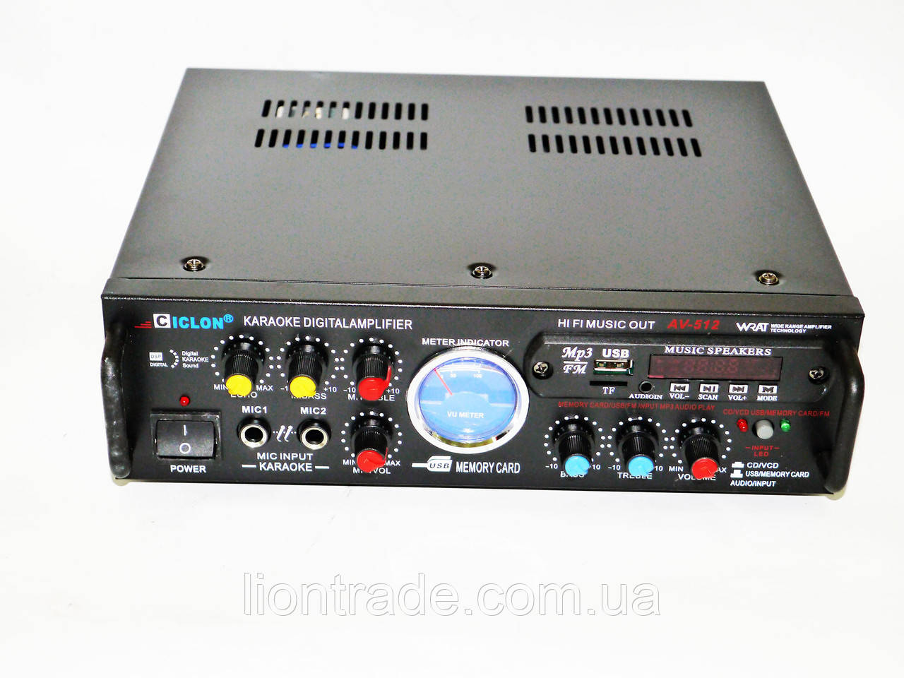 Підсилювач звуку Ciclon AV-512 + USB + Fm + Mp3 + КАРАОКЕ