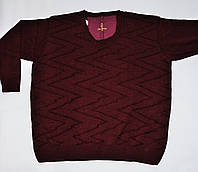 Кофта мужская теплая большого размера 4XL, бордовая