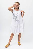 Платье без рукавов принт бабочки Miss Forever - белый цвет, XL (есть размеры), фото 1