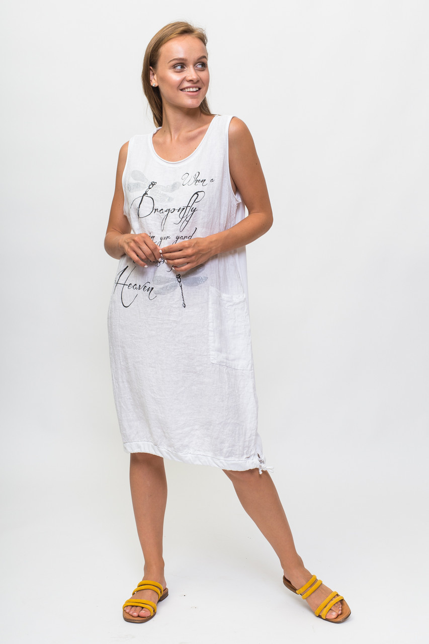 604d79eb2365 Летнее платье с надписью и стрекозой My Luna - белый цвет, M (есть размеры)  - модные ...
