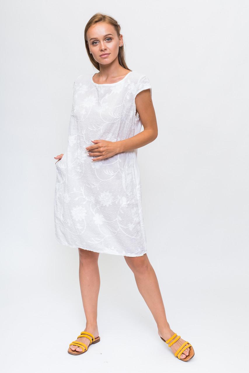 Летнее платье с объемной цветочной аппликацией LUREX - белый цвет, XL (есть размеры)