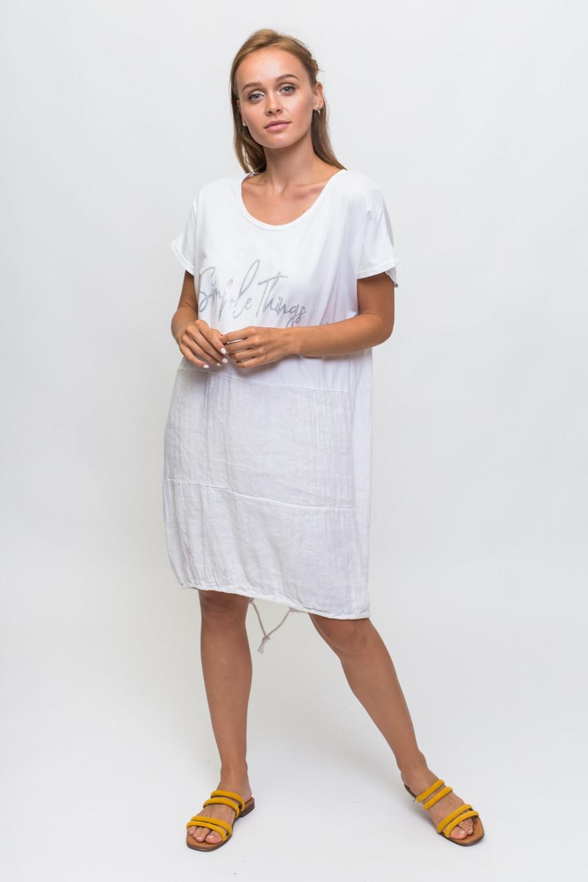 Свободное летнее платье с надписью KS - белый цвет, L (есть размеры)