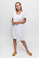 Свободное летнее платье с надписью KS - белый цвет, L (есть размеры), фото 1