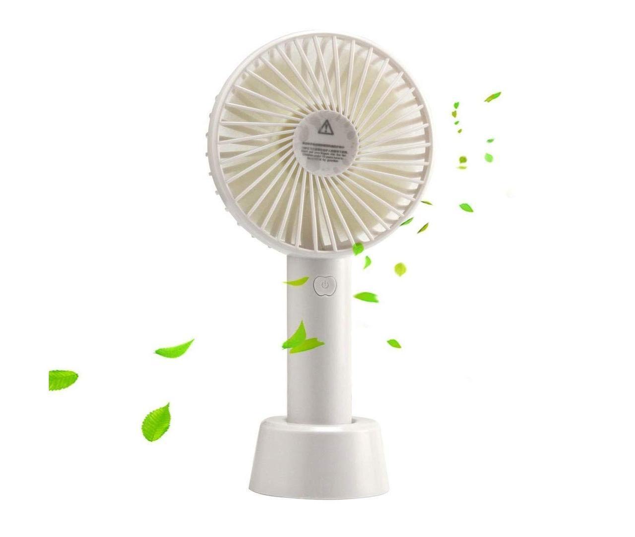 Портативный ручной мини вентилятор настольный от USB на аккумуляторе Белый