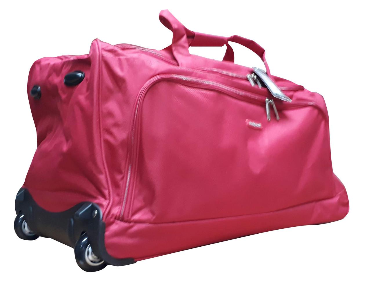 Большая Дорожная сумка на колесах Cannes c выдвижной ручкой Красная