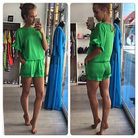 Шелковый женский комбинезон с шортами