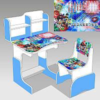 """Гр Парта школьная """"Библэйд ЛДСП ПШ 037 (1) 69*45 см., цвет бело-голубой, + 1 стул"""