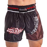 Шорты для тайского бокса и кикбоксинга HAYABUSA LOIN WARRIOR (черный-бордовый)