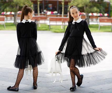 """Детское стильное платье 527 """"Сетка Волан Воротничок Бант"""" в школьных расцветках"""