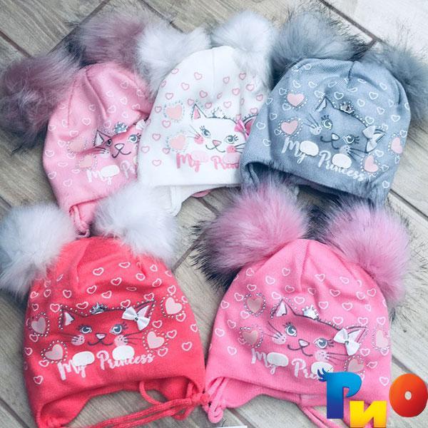 Детская шапочка из трикотажа, на флисе, для девочек р-р 48-50 (5 ед в уп) NA_NA_14283135