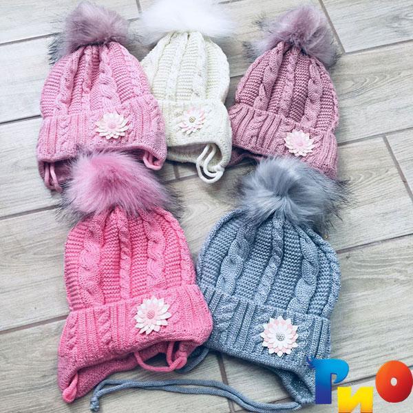 Детская вязанная шапочка на флисе, для девочек р-р 50-52 (5 ед в уп) NA_6175135