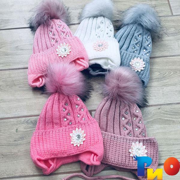 Детская вязанная шапочка на флисе, для девочек р-р 50-52 (5 ед в уп) NA_6164135