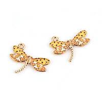 Подвеска Стрекоза, Цвет основы Светло-золотой, Эмаль тигровая, Цинковый сплав, 22 мм x 17 мм