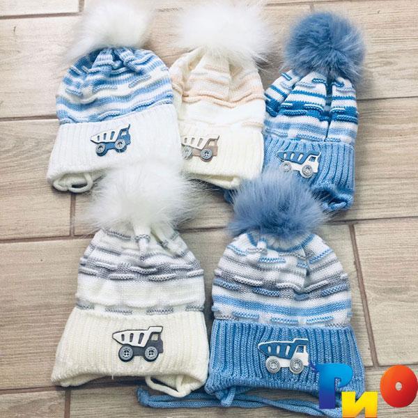 Детская вязанная шапочка на флисе, для мальчиков р-р 40-48 (5 ед в уп) NA_713990