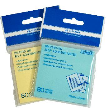 Блок бумаги для заметок Buromax 76х76 мм, 80 шт, ассорти