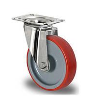 Нержавеющее поворотное полиуретановое колесо диаметром 80 мм нагрузка 130 кг