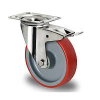 Нержавеющее поворотное с тормозом полиуретановое колесо диаметром 80 мм нагрузка 130 кг