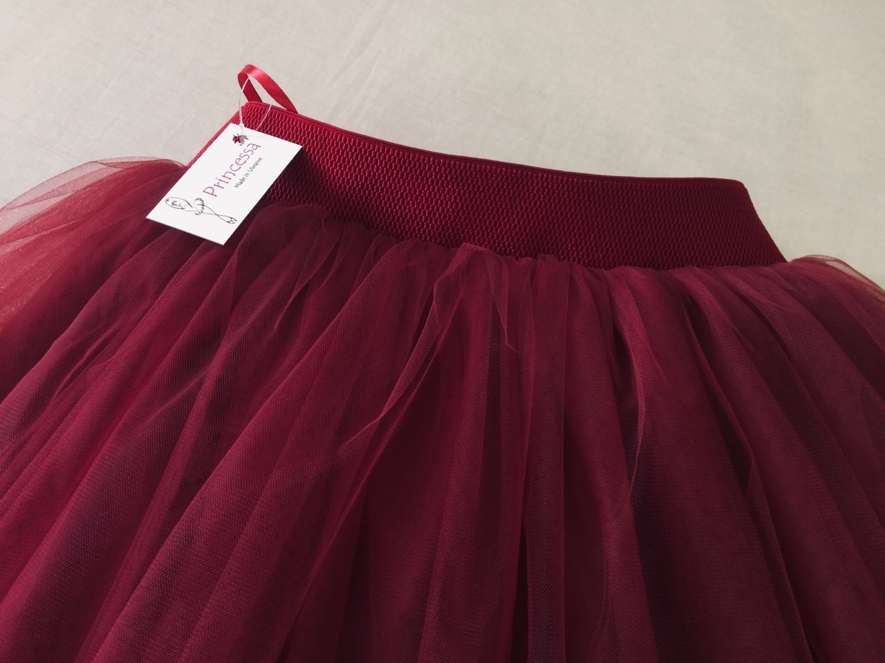 """Нарядная юбка женская бордовая из евросетки, с подкладом. Комплекты """"Мама+дочка"""".Любая длина и цвет."""