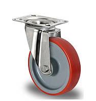Нержавеющее поворотное полиуретановое колесо диаметром 100 мм нагрузка 150 кг