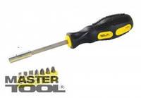 MasterTool  Отвёртка магнитная +7 насадок 25 мм (SL 4; 5; 6;  PH 1/PH 2; PZ1/PZ2), Арт.: 40-0142