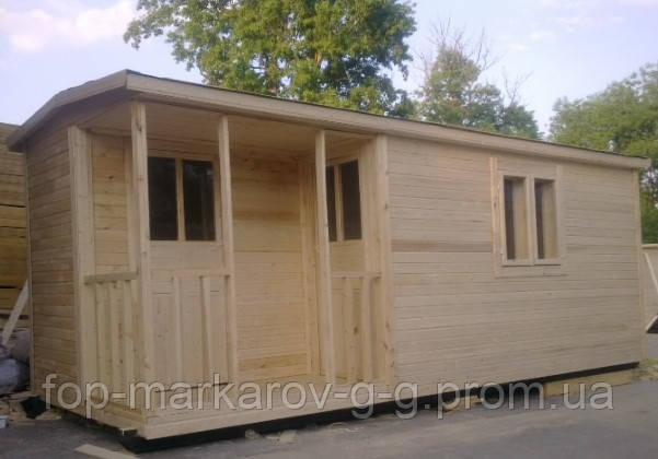 Бытовка 6х2,3м с верандой 1х2м и помещениями для душа и туалета
