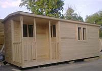 Бытовка 6х2,3м с верандой 1х2м и помещениями для душа и туалета, фото 1
