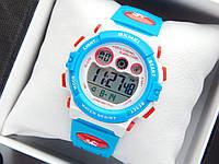Водонепроникні дитячі спортивні наручний годинник Skmei 1451 блакитні з білим, фото 1