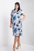 Женское батальное платье из льна в синем цвете