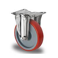Нержавеющее неповоротное полиуретановое колесо диаметром 125 мм нагрузка 200 кг