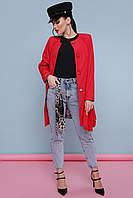 Женский короткий легкий плащ без воротника на пуговицах под пояс Плащ 337 цвет 110-красный