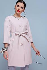 Стильный женский легкий короткий плащ без воротника с рукавом три четверти Плащ 355 цвет жемчуг