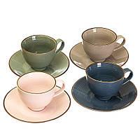 """Набор чайно-кофейных чашек с блюдцем """"Времена года"""" 200 мл (керамика) 4 цвета в наборе"""