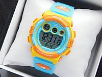 Водонепроникні дитячі спортивні наручний годинник Skmei 1451 блакитні з помаранчевим, фото 1