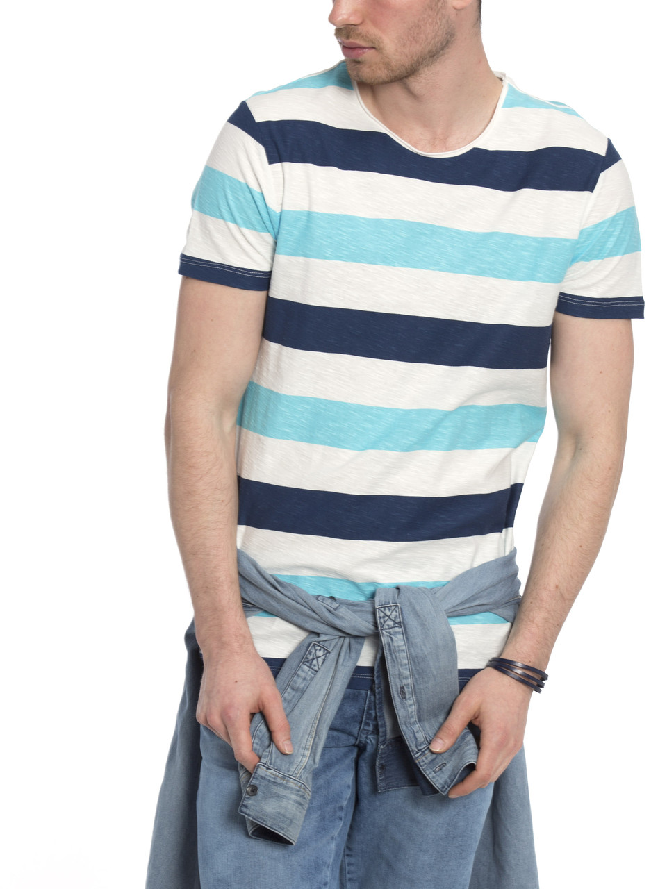 Белая мужская футболка Lc Waikiki / Лс Вайкики в сине-голубую полоску