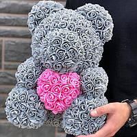 Мишка из 3D роз 40 см Серый  с розовым  сердцем в лапках. В подарочной коробке.