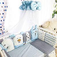 Комплект детского постельного белья Зверятки голубые
