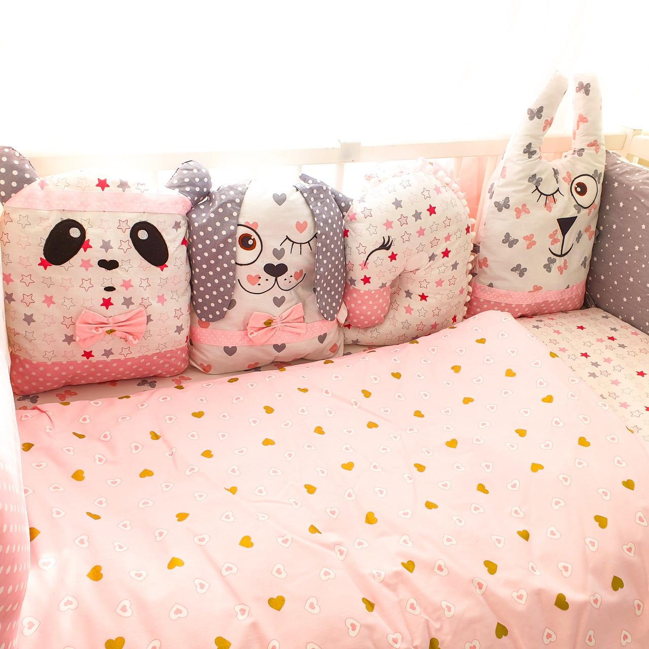 Комплект дитячої постільної білизни Зверятки рожеві