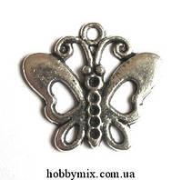 "Метал. подвеска ""бабочка"" серебро ( 2,5х2,2 см) 8 шт в уп."