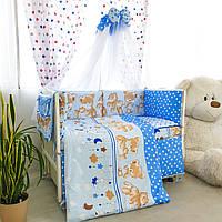"""Комплект в кроватку """"Мишки детки"""" голубой"""