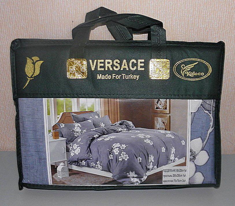 Двуспальное постельное белье VERSACE плотный сатин (F-525)