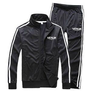 Чорний спортивний костюм Venum з лампасами (Венум)