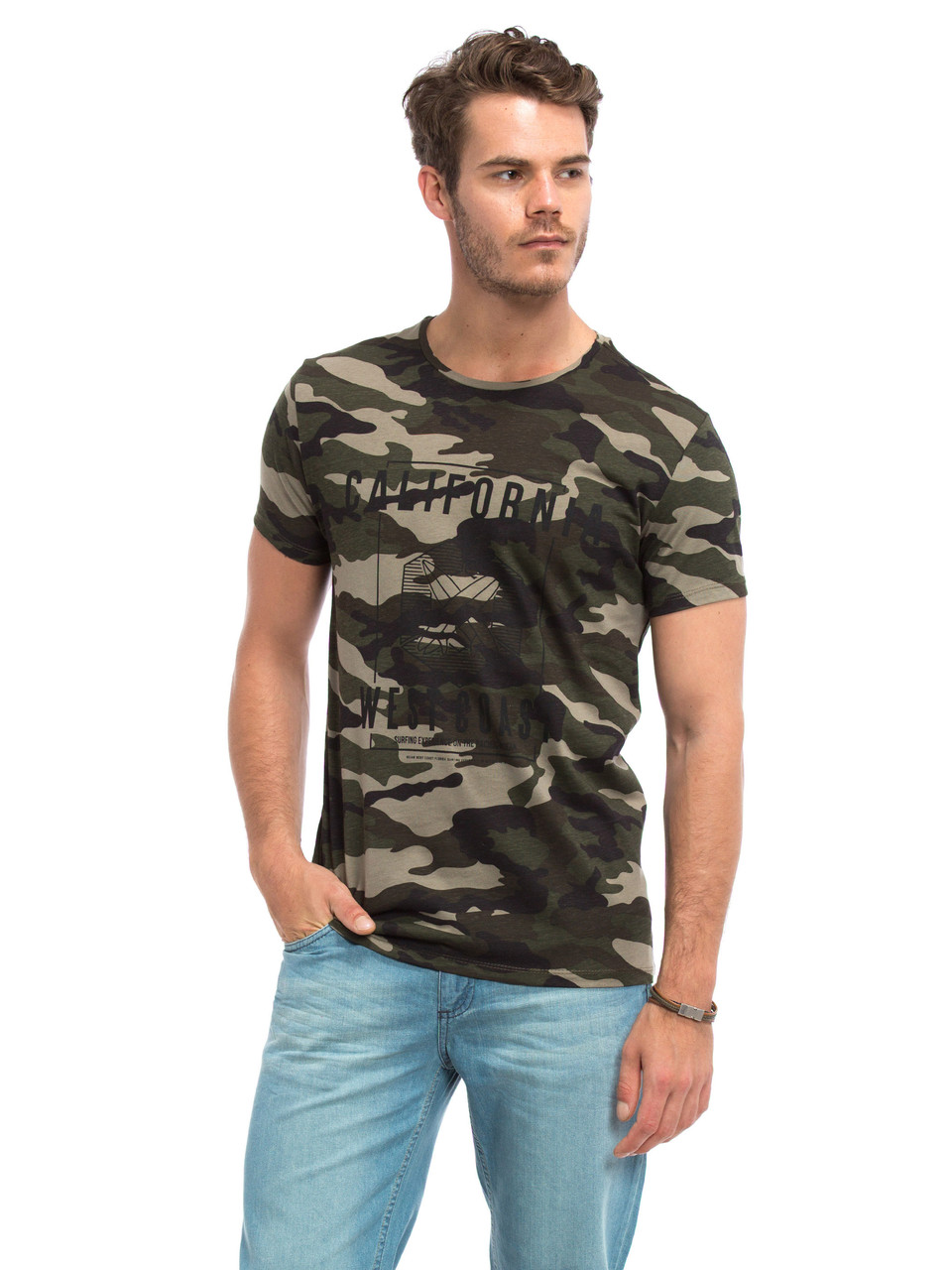 Мужская футболка Lc Waikiki / Лс Вайкики камуфляж с надписью California West Coast