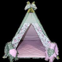 """Игровая палатка-вигвам """"Балерина"""" со стеганым ковриком (розовый/серый) ТМ """"Хатка"""""""