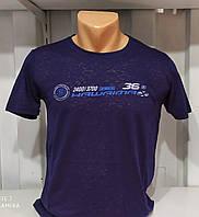 Мужская футболка синяя Марлевка большой размер