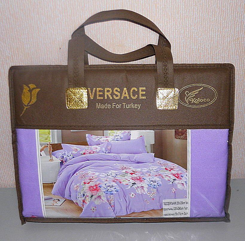 Комплект постельного белья евро размер VERSACE плотный сатин (F-543)