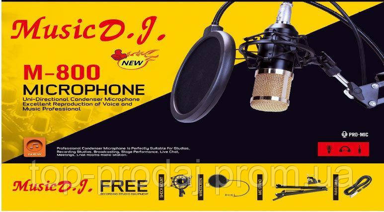 Микрофон студийный DM 800, Микрофон с усилителем, Микрофон для студийной записи, Вокальный микрофон