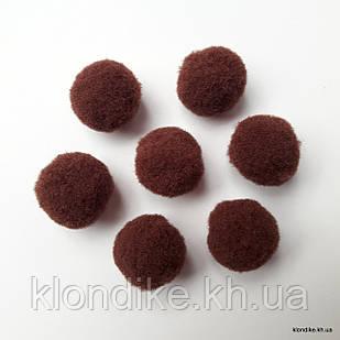 """Помпоны """"Велюр"""", 1.5 см, Цвет: Темно-коричневый (50 шт.)"""