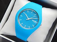 Кварцові водонепроникні наручний годинник Skmei Watch на силіконовому ремінці блакитні, фото 1