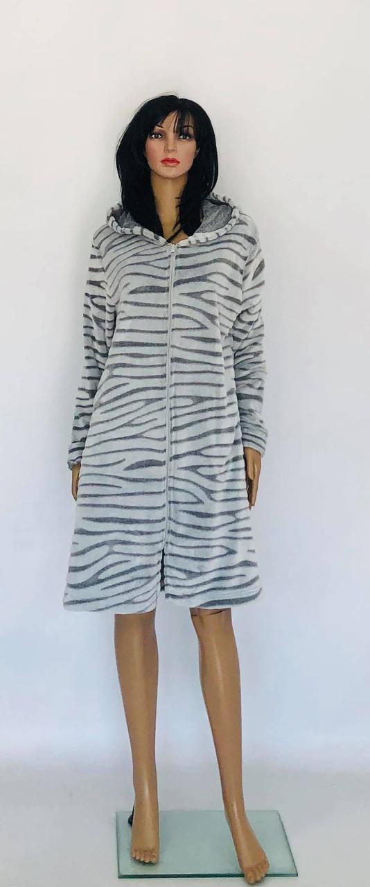 Махровый халат на молнии Шиншилла